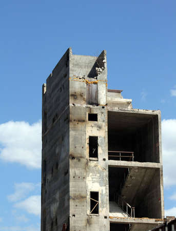 wreckage: Abandoned building ready to be teared down Stock Photo