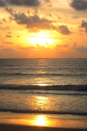 Beautiful sunset by the ocean and horizon