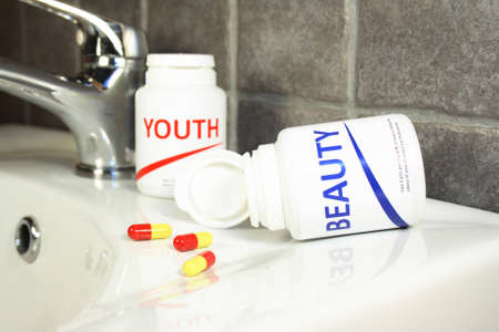longevity drugs: Beauty and youth pills in a bottle, fake brand