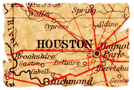 houston: Houston, Texas on an old torn map from 1949, isolated. Part of the old map series.