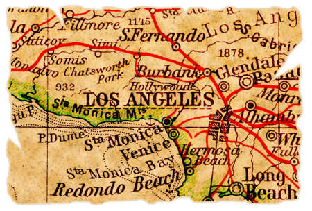 Los Angeles on an old torn map, isolated. Part of the old map series. Foto de archivo