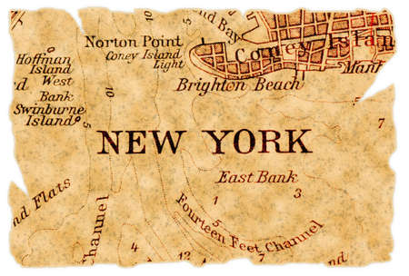 new york map: New York on an old torn map, isolated. Part of the old map series.