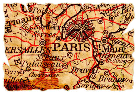 france map: Paris on an old torn map with the eiffel tower, isolated. Part of the old map series.