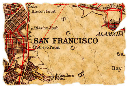 San Francisco on an old torn map from 1949, isolated. Part of the old map series. Stock Photo