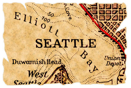 Seattle on an old torn map, isolated. Part of the old map series.