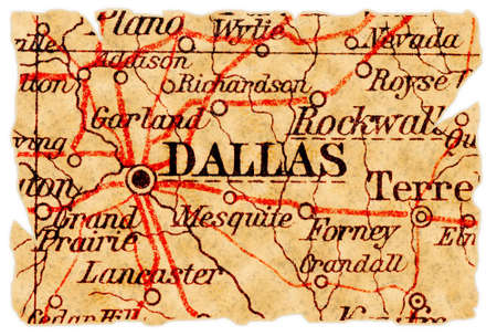 Dallas, Texas on an old torn map from 1949, isolated. Part of the old map series. Stock Photo