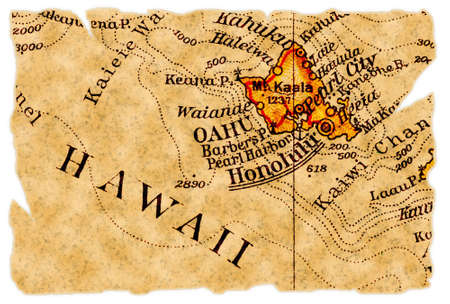Honolulu, Hawaii on an old torn map from 1949, isolated. Part of the old map series. Stock Photo