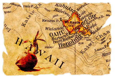 oahu: Honolulu, Hawaii on an old torn map from 1949, isolated. Part of the old map series. Stock Photo