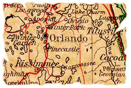 Orlando, Florida on an old torn map from 1949, isolated. Part of the old map series.