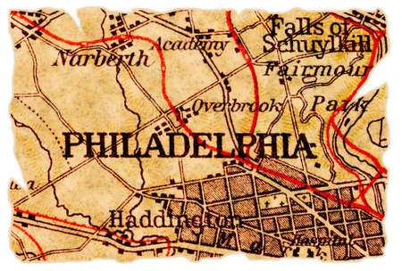 Philadelphia, Pennsylvania on an old torn map from 1949, isolated. Part of the old map series. Foto de archivo