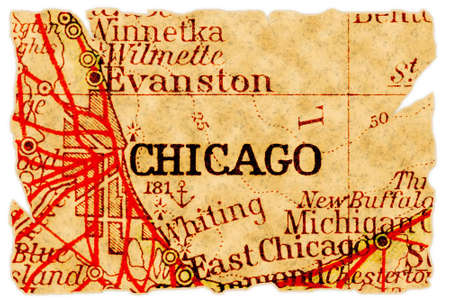 Chicago, Illinois on an old torn map from 1949, isolated. Part of the old map series. Foto de archivo