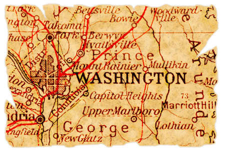 Washington D.C. on an old torn map from 1949, isolated. Part of the old map series. Stock Photo