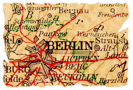 Berlin, Germany on an old torn map from 1949, isolated. Part of the old map series. Stock Photo