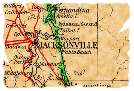 jacksonville: Jacksonville, Florida on an old torn map from 1949, isolated. Part of the old map series.
