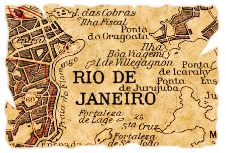 Rio de Janeiro, Brazil on an old torn map from 1949, isolated. Part of the old map series.