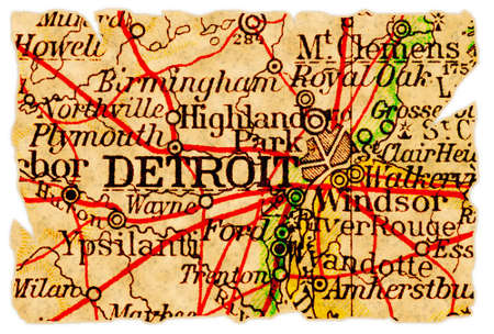 Detroit, Michigan on an old torn map from 1949, isolated. Part of the old map series. Stock Photo