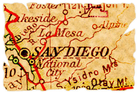 San Diego, California on an old torn map from 1949, isolated. Part of the old map series.