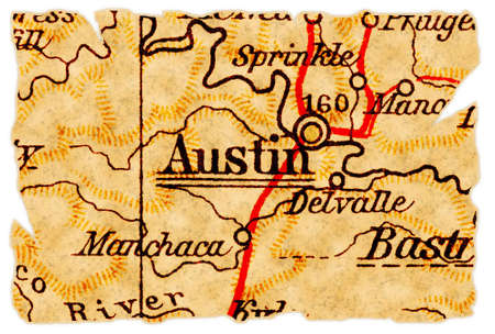 Austin, Texas on an old torn map from 1949, isolated. Part of the old map series. Foto de archivo