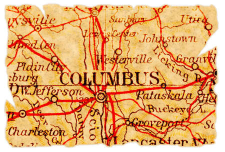 Columbus, Ohio on an old torn map from 1949, isolated. Part of the old map series. Stock Photo