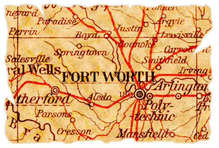 Fort Worth, Texas on an old torn map from 1949, isolated. Part of the old map series.