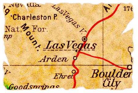 Las Vegas, Nevada on an old torn map from 1949, isolated. Part of the old map series.
