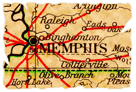 Memphis, Tennessee on an old torn map from 1949, isolated. Part of the old map series. Stock Photo