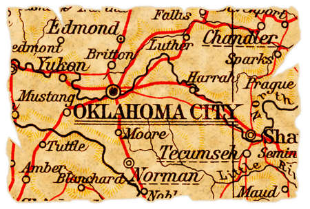 oklahoma city: Oklahoma City, Oklahoma on an old torn map from 1949, isolated. Part of the old map series.