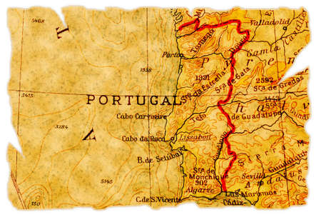 Portugal on an old torn map from 1949, isolated. Part of the old map series. photo