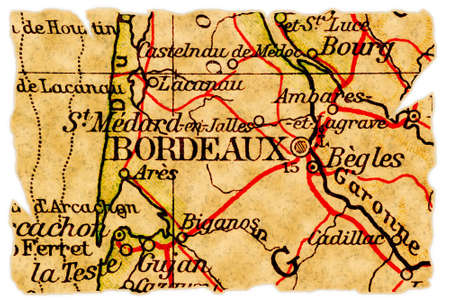 Bordeaux, France on an old torn map from 1949, isolated. Part of the old map series. Foto de archivo