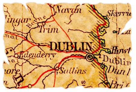 Dublin, Ireland on an old torn map from 1949, isolated. Part of the old map series.