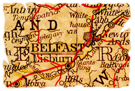 Belfast, Norhtern Ireland on an old torn map from 1949, isolated. Part of the old map series. Stock Photo - 8007928