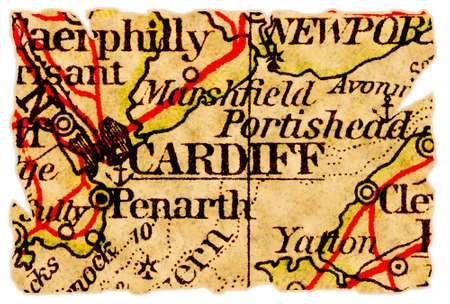 Cardiff, Wales UK on an old torn map from 1949, isolated. Part of the old map series.