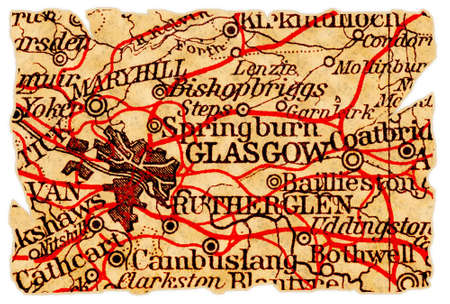 glasgow: Glasgow, Scotland on an old torn map from 1949, isolated. Part of the old map series.