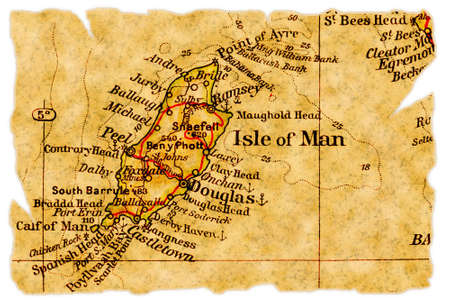 Isle of Man on an old torn map from 1949, isolated. Part of the old map series.