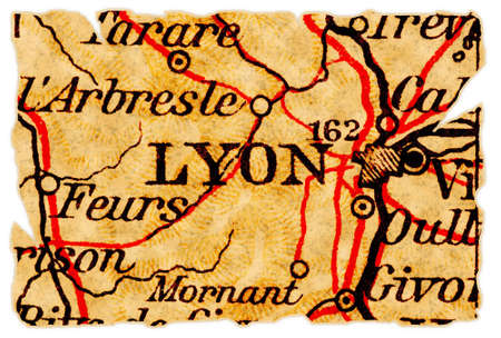Lyon, France on an old torn map from 1949, isolated. Part of the old map series.