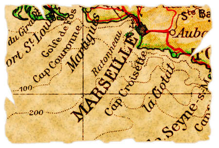 Marseille, France on an old torn map from 1949, isolated. Part of the old map series. Stock Photo