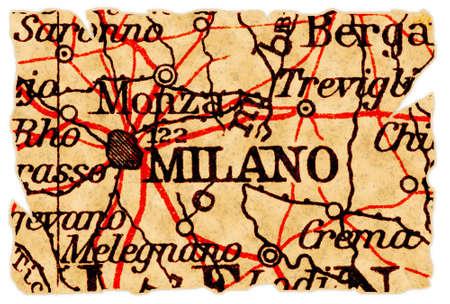 mil�n: Mil�n, Italia en un viejo mapa roto desde 1949, aislado. Parte de la antigua serie de mapa.  Foto de archivo