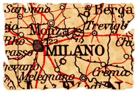 milánó: Milan, Italy on an old torn map from 1949, isolated. Part of the old map series.
