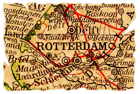 Rotterdam, The Netherlands on an old torn map from 1949, isolated. Part of the old map series.