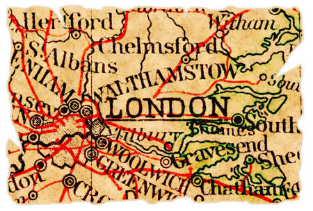 London, UK on an old torn map from 1949, isolated. Part of the old map series.