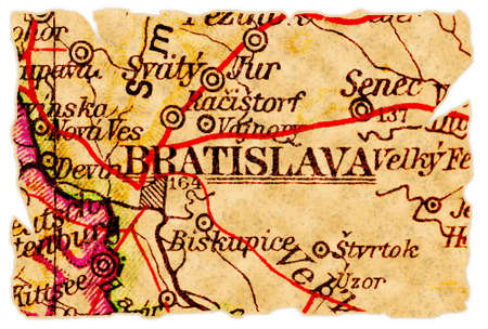 Bratislava, Slovakia on an old torn map from 1949, isolated. Part of the old map series. Stock Photo