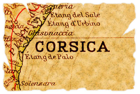 corse: Corsica or Corse, France on an old torn map from 1949, isolated. Part of the old map series.