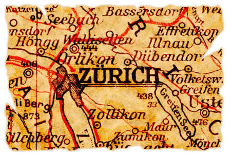 Zurich, Switzerland on an old torn map from 1949, isolated. Part of the old map series.