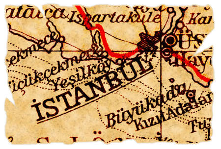 Istanbul, Turkey on an old torn map from 1949, isolated. Part of the old map series. photo