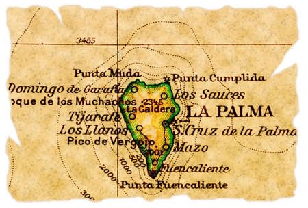 La Palma, Canary Islands on an old torn map from 1949, isolated. Part of the old map series.
