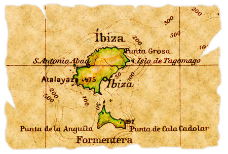 Ibiza, Spain on an old torn map from 1949, isolated. Part of the old map series. Stock Photo