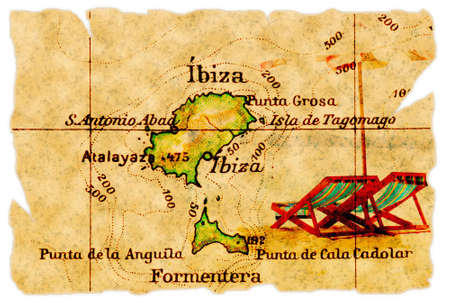 Ibiza, Spain on an old torn map from 1949, isolated. Part of the old map series. Foto de archivo