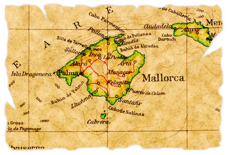 mallorca: Mallorca, Spain on an old torn map from 1949, isolated. Part of the old map series.