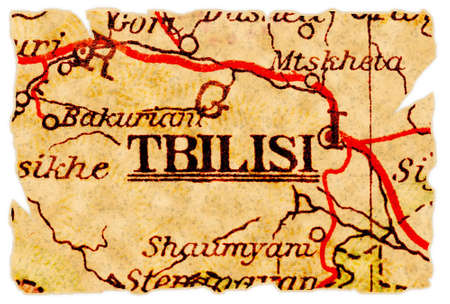 Tbilisi, Georgia on an old torn map from 1949, isolated. Part of the old map series. Stock Photo - 8154308