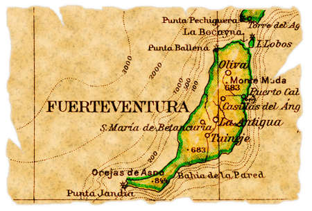Fuerteventura, Canary Islands on an old torn map from 1949, isolated. Part of the old map series.